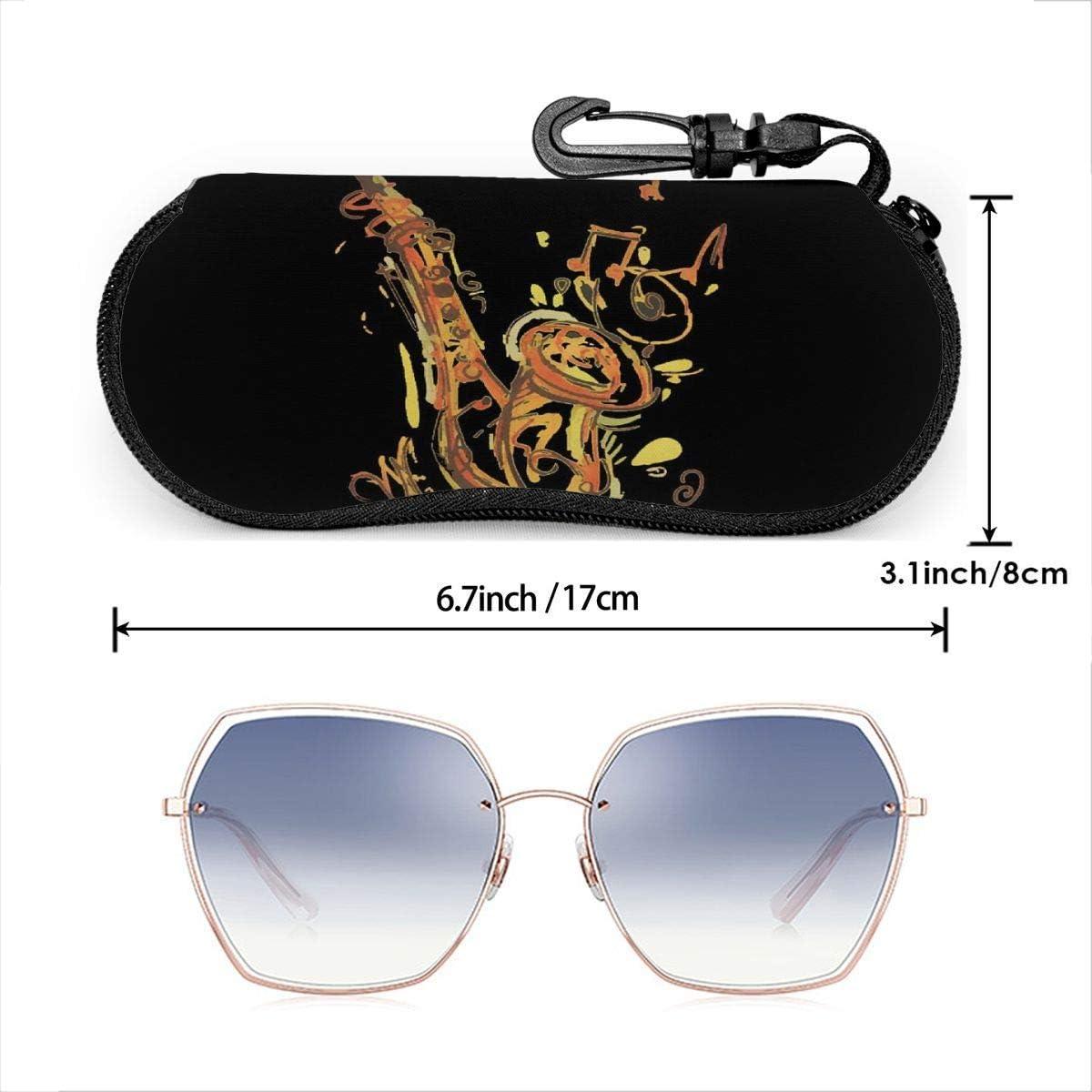 SDFGJ Custodia per occhiali Musica Jazz Sassofono Custodia per occhiali Custodia per occhiali da viaggio portatile resistente ai graffi Porta occhiali da sole a conchiglia Occhiali leggeri Custodia pr