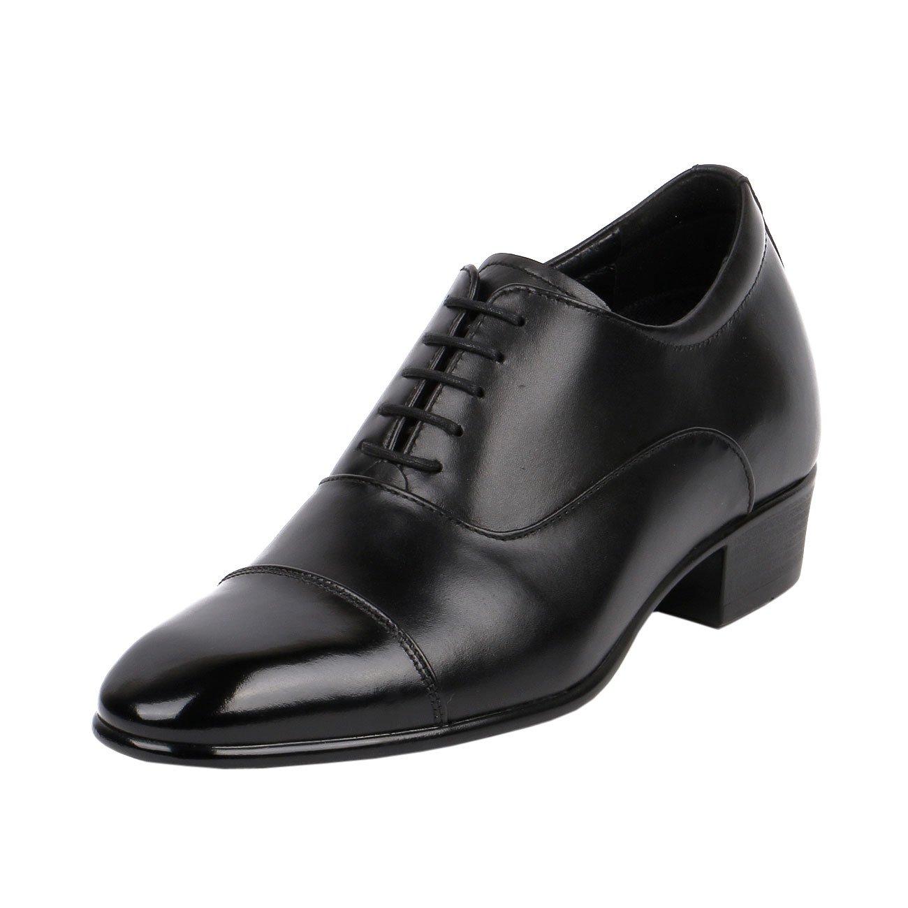 55ba565c954 Amazon.com | Men High Heel Dress Shoes 3 Inch Height Taller Leather Black  Cap Toe-JW503 | Walking