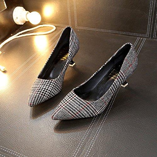 Noir yalanshop Femmes de Chaussures Les d'étudiant Chat avec 35 pour Chaussures Bas vqTgrv