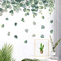 Green Tropical Leaves Wall Decal, Nature Palm Tree Leaf Plants Wall Sticker Art Murals for Bedroom Living Room Classroom…