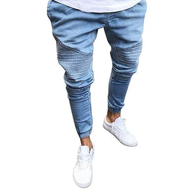 c116fe3a1e16a5 Qmber Jeans Herren Slim fit Schwarze Skinny Destroyed Hose Herren Jeans  Destroyed Sommer Hosen Herren Jogger Jeans mit löchern schwarz Stretch - Slim  Fit ...