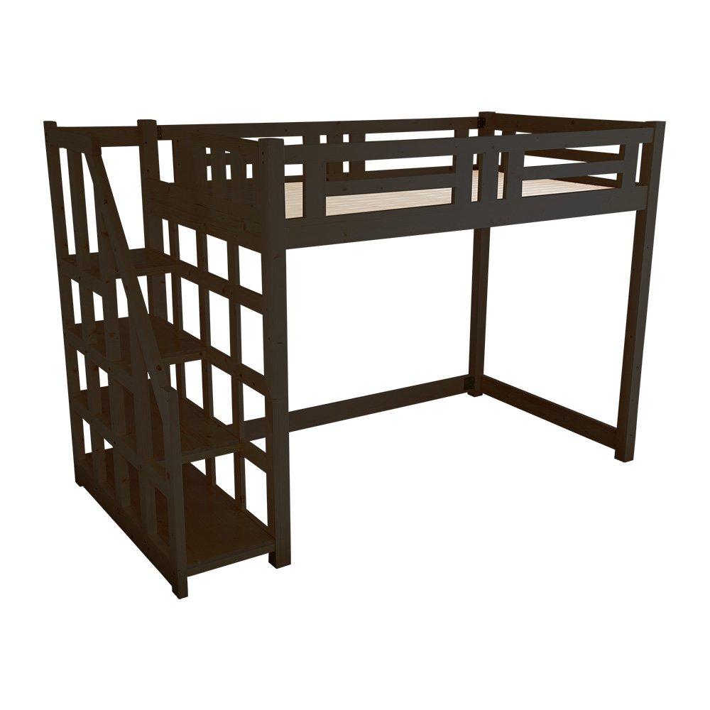 子供部屋 大人でも使える おしゃれなロフトベッド セミダブル ダークブラウン 木製(すのこ天然木階段付き分割可能) B07D494RH8 ダークブラウン ダークブラウン