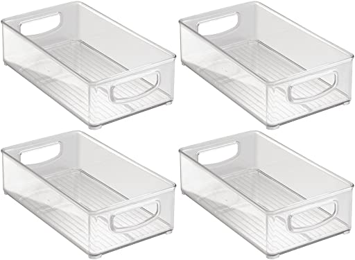 'InterDesign Home Kitchen Organizer Bin for Pantry, Refrigerator, Freezer & Storage Cabinet, Set of 4, 10-Inch by 6-Inch by 3-Inch, Clear' from the web at 'https://images-na.ssl-images-amazon.com/images/I/613Ui-cWrlL._AC_SY375_.jpg'