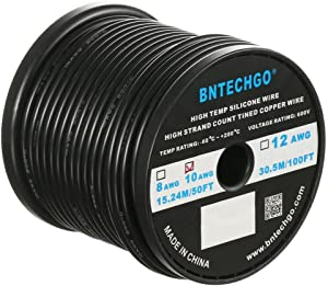 BNTECHGO 10 Gauge Silicone Wire Spool 50 ft Black Flexible 10 AWG Stranded Tinned Copper Wire