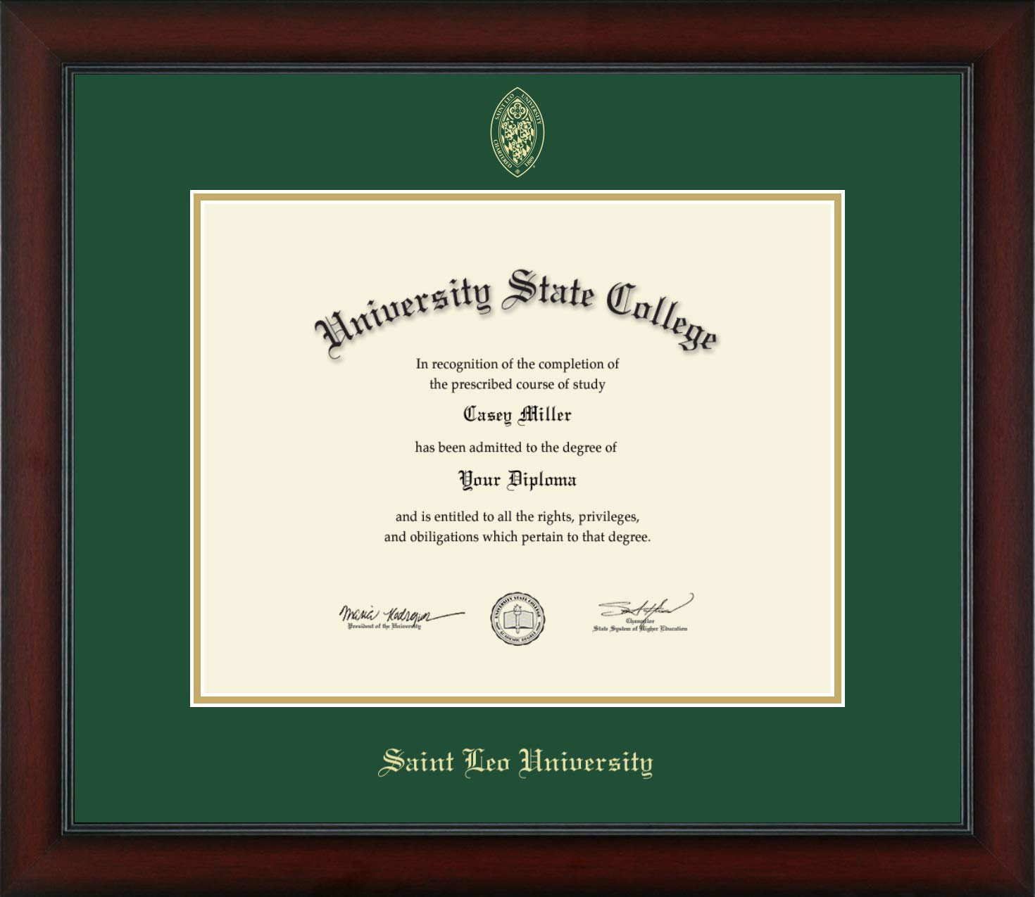 Saint Leo University - Officially Licensed - Masters/PhD - Gold Embossed Diploma Frame - Diploma Size 14'' x 11''