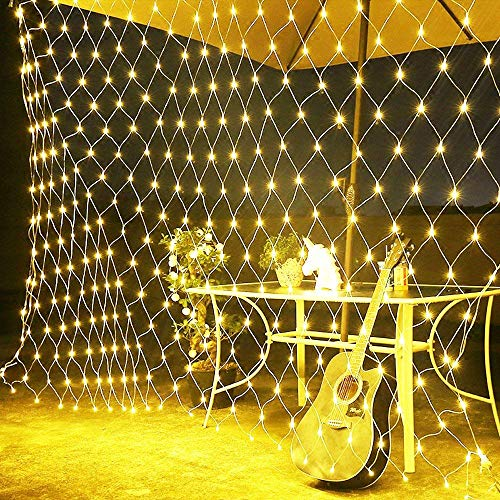 10x6.5Ft 320 LED Net Lights Indoor String Lights Party Christmas Xmas Wedding Home Garden Decorations 8 Modes for Flashing(Warm White) by SUNYANG