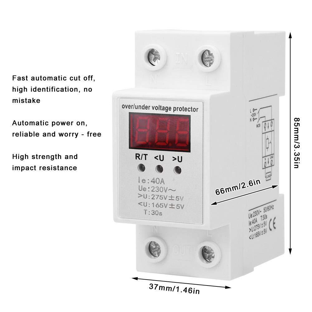 BEMS1-40A 230V 40A Relais de Protection Automatique de Tension Relais de Protection de Tension Relais Num/érique pour La Protection contre Surtensions et Sous-tensions