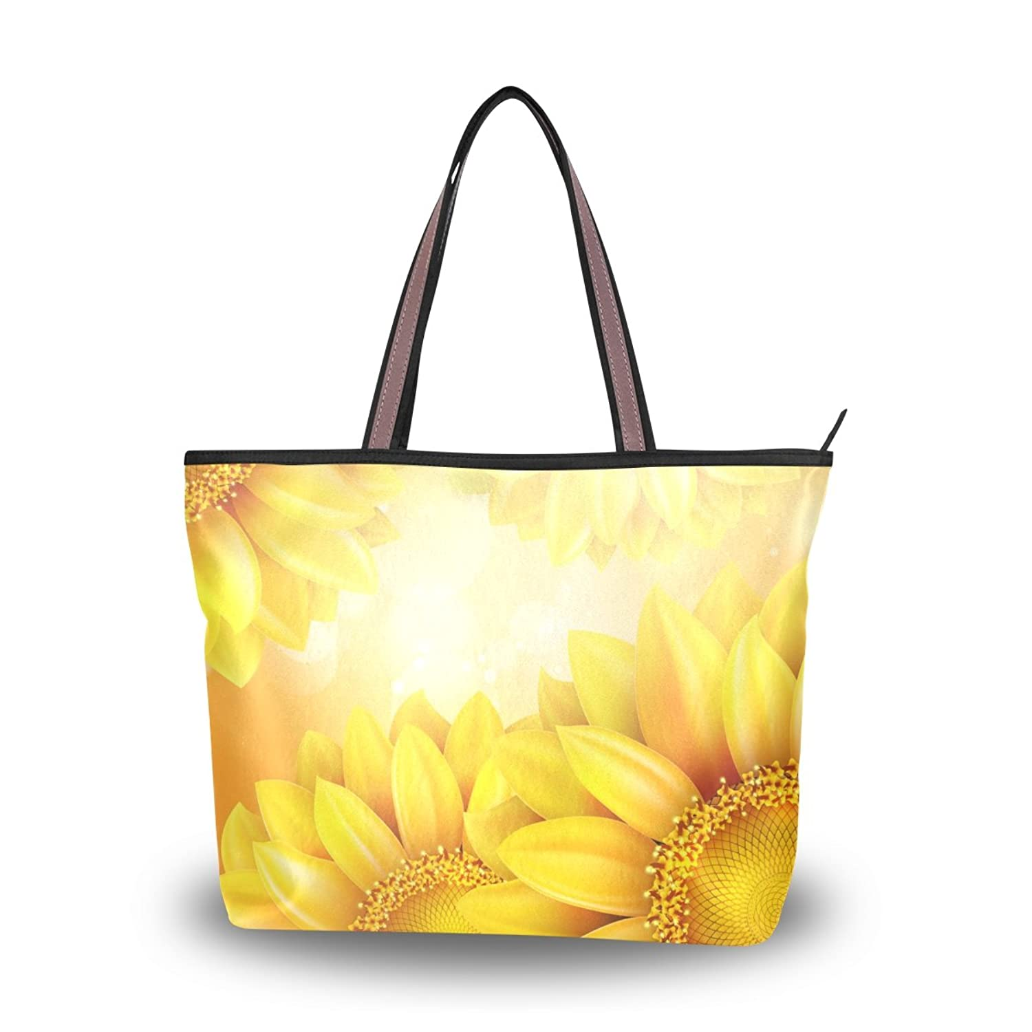 Senya Women's Handbag Microfiber Large Tote Shoulder Bag, Sunflower Helianthus
