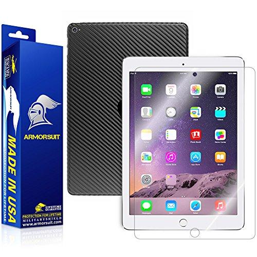 - ArmorSuit Apple iPad Air 2 WiFi + 4G LTE Screen Protector MilitaryShield + Black Carbon Fiber Skin Wrap Back Film Protector for iPad Air 2 WiFi + 4G LTE