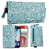 NuVur153; Lace Print Fabric Universal Wallet Wristlet Clutch ::Smart Phone:: Case Fits Huawei Ascend D2-6070 TD-LTE, G740, G610s, Honor 3C, Honor 3C 4G|Red