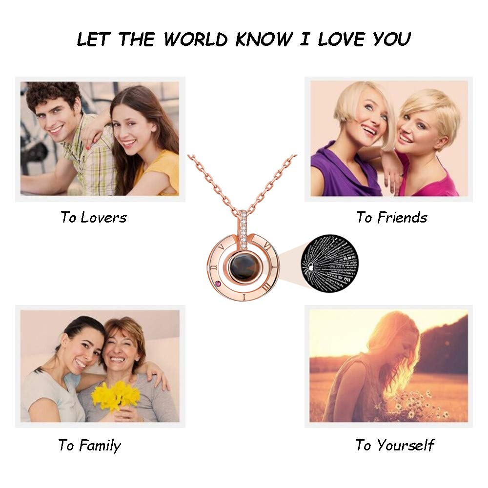 100 Languages I Love You Round Necklace Loving Memory Collarbone Fashion Jewelry Valentine\'s Day Anniversary for Lovers Couples Women Girls Family