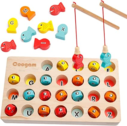 Montessori Letters Cognition Preschool Gift for 2 3 4 Years Old Toddler Kid Early Learning with 2 Pole Fine Motor Skill Toy ABC Alphabet Color Sorting Puzzle Coogam Wooden Magnetic Fishing Game