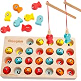 Coogam Wooden Magnetic Fishing Game, Fine Motor Skill Toy ABC Alphabet Color Sorting Puzzle, Montessori Letters Cognition Preschool  2 3 4 Years Old Toddler Kid Early Learning with 2 Pole