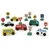 Melissa & Doug Wooden Vehicles and Traffic Signs With 6 Cars and 9 Signs