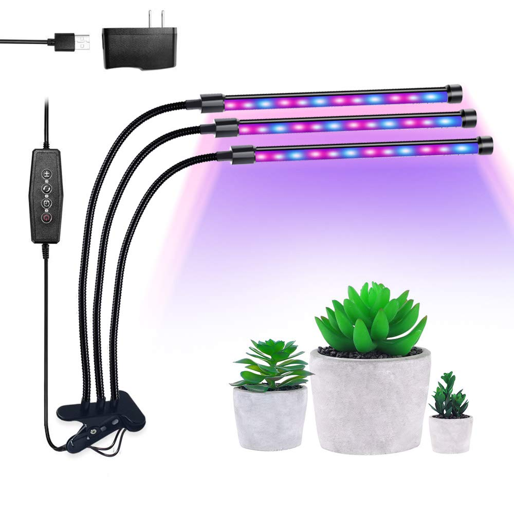 LED Grow Light Lamp, ADSM 3 Head 54 LEDs Timing Clip Dimmable Grow Lights for Indoor Plants with Red/Blue Full Spectrum, Adjustable Gooseneck, 3 Switch Modes Light Bulbs by ADSM