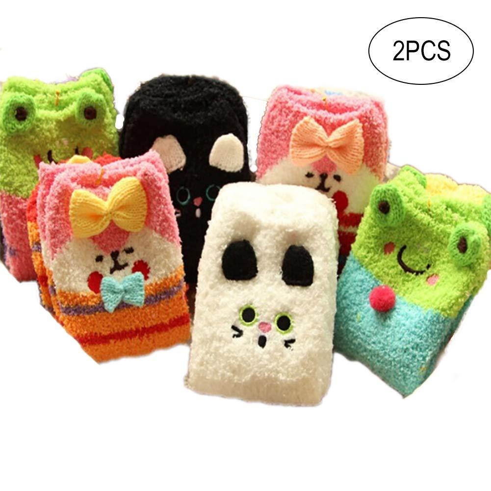 2 pares mujeres acogedoras antideslizantes calcetines Fuzzy antideslizante suave Animal zapatillas invierno calcetines - Color al azar Ouken 9614679AH6Y56EIRDP