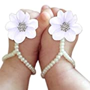 DZT1968 Baby Girl Pearl Chiffon Foot Flower Shoes Barefoot Sandals (White)