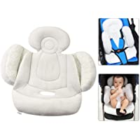 Volwco Car Seat Insert for Infant Baby, Reversible Soft Baby Stroller Liner Pram Head and Body Support Pillow, Washable Infant Seat Pad Carseat Neck Support Cushion for Toddler Baby