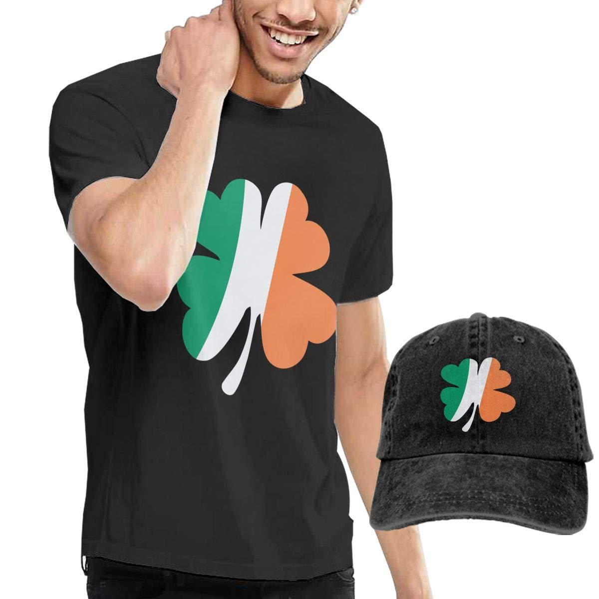 QQWBB Irish Flag with Shamrocks Tshirt Short Sleeve Denim Hat Mens