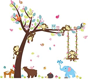 Baby Wall Decals, Monkey Owls Hedgehog Tree Swing Nursery Stickers, Art Wall Decals for Kids Girls Room Decoration