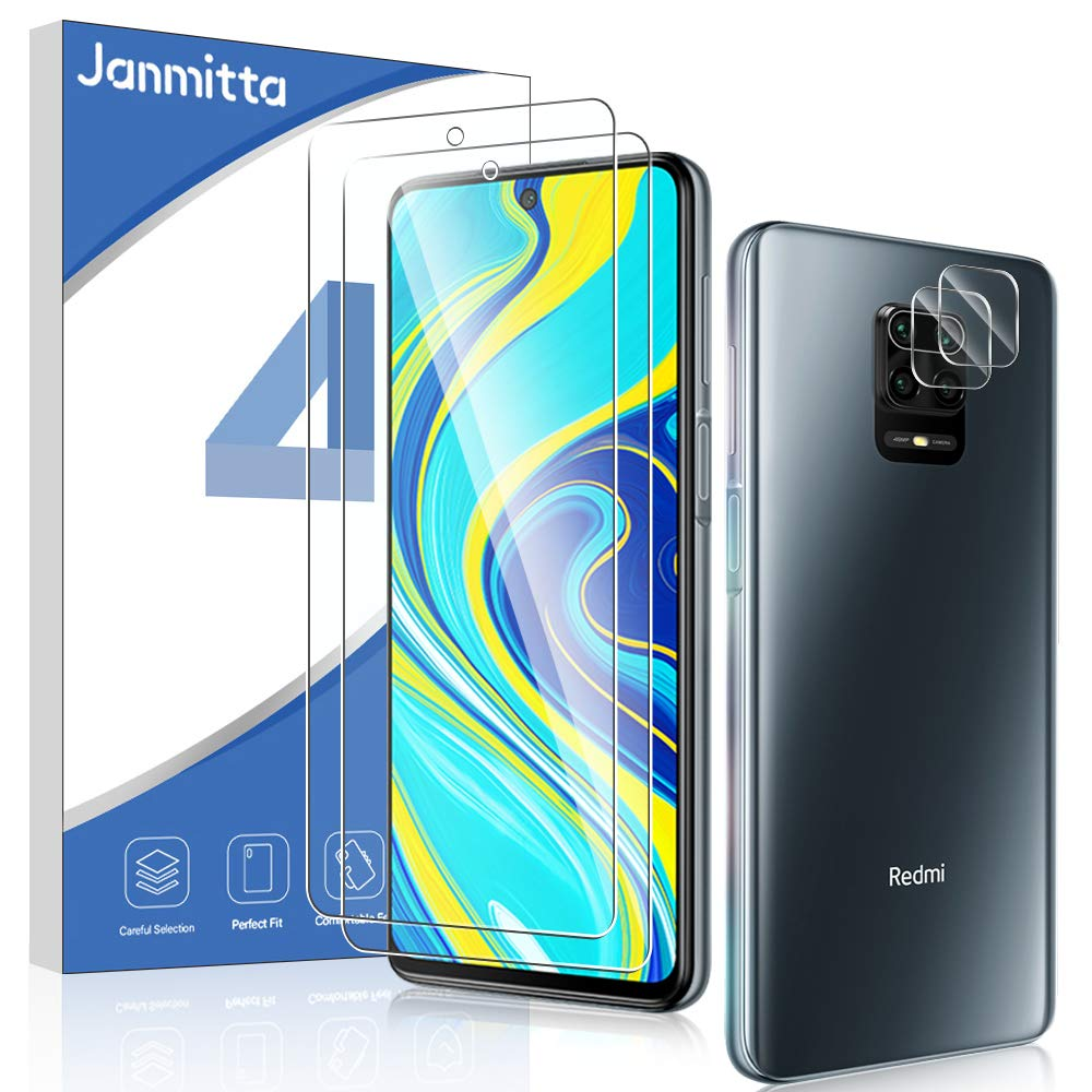 [2+2]Janmitta 2 Pack Screen Protector and 2 Pack Camera Lens Protector for Xiaomi Redmi Note 9S/ Redmi Note 9 Pro Max/Redmi Note 9 Pro,[2.5D Round Edge][9H Hardness][Bubble Free] Tempered Glass [Fit with Most Cases]