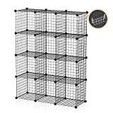 GEORGE&DANIS Storage Cubes Wire Grid Modular Metal Cubbies Organizer Bookcases and Book Shelves Origami MultiFuncation Shelving Unit, Capacious & Customizable, Black, 12 Cubes