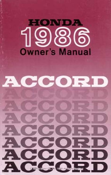 honda accord 1986 service manual