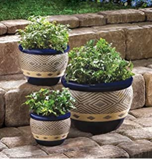 Superieur Garden Planters Home Office Patio Plant Holder Round Ceramic Pots Indoor U0026  Outdoor Decorative Set Of