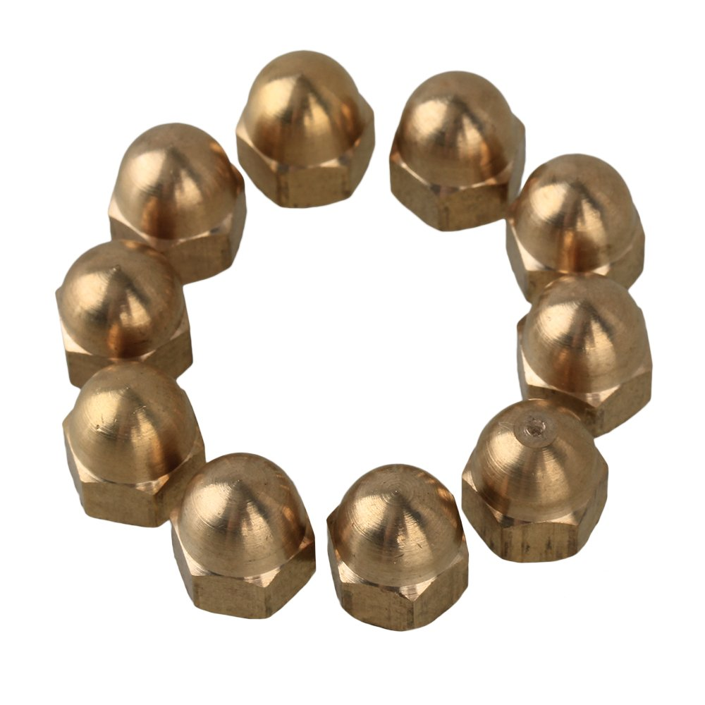 CNBTR 10mm OD Yellow Brass Acorn M6 Hex Nuts with Cap Head for Industrial Pack of 10 yqltd BHBUKALIAINH1412