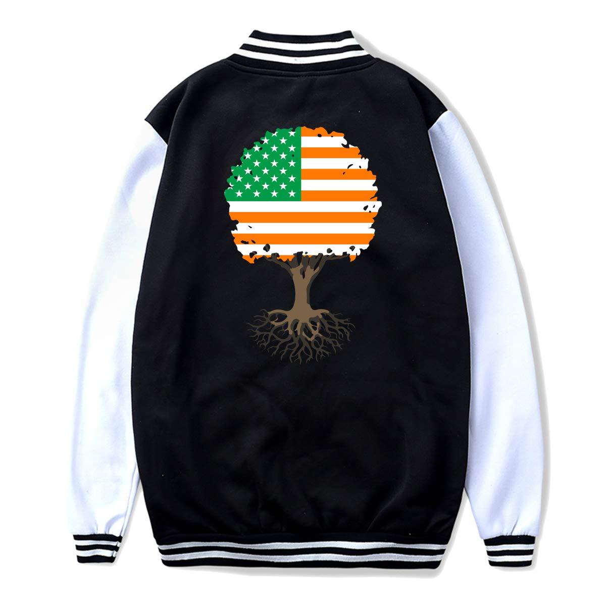 NJKM5MJ Unisex Youth Baseball Uniform Jacket Tree of Life with Irish Flag Hoodie Sweatshirt Sweater Tee Back Print