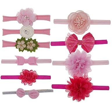 Webla(TM) Lot de 10 Pièces Bébé Bandeau Elastique Bowknot Cheveux Bébé  Filles Serre 2a3b4d824f8
