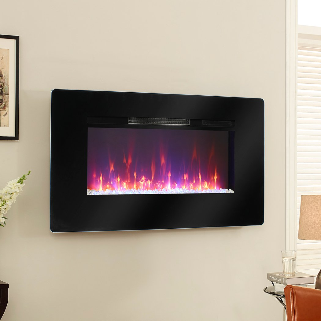 Muskoka MH57BL Electric Wall Mount Fireplace, 57-Inch, Accessories ...
