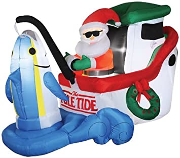 Amazon.com: GEMMY AIRBLOWN INFLATABLE ANIMATED SANTA FISHING PROP ...