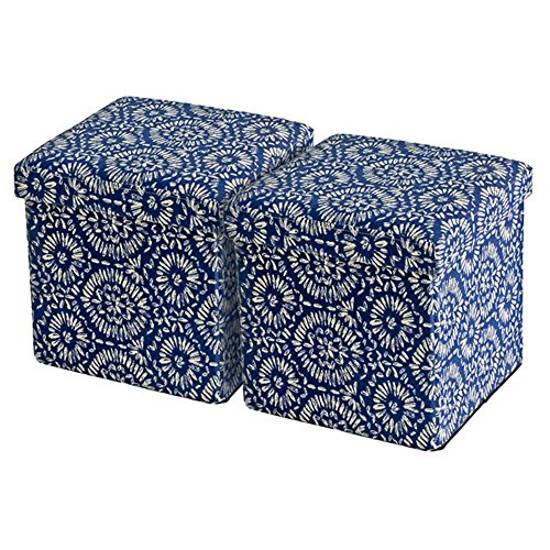 2-Piece Creative Living Floral Linenette Fabric Upholstered Folding Storage Ottomans (Floral Upholstered Ottoman)