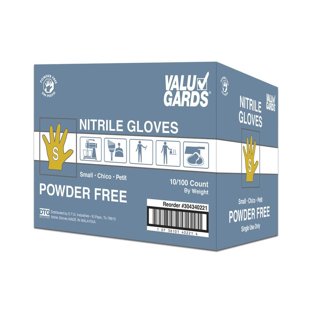 Valugards White Small Nitrile Disposable Gloves -- 1000 per case.