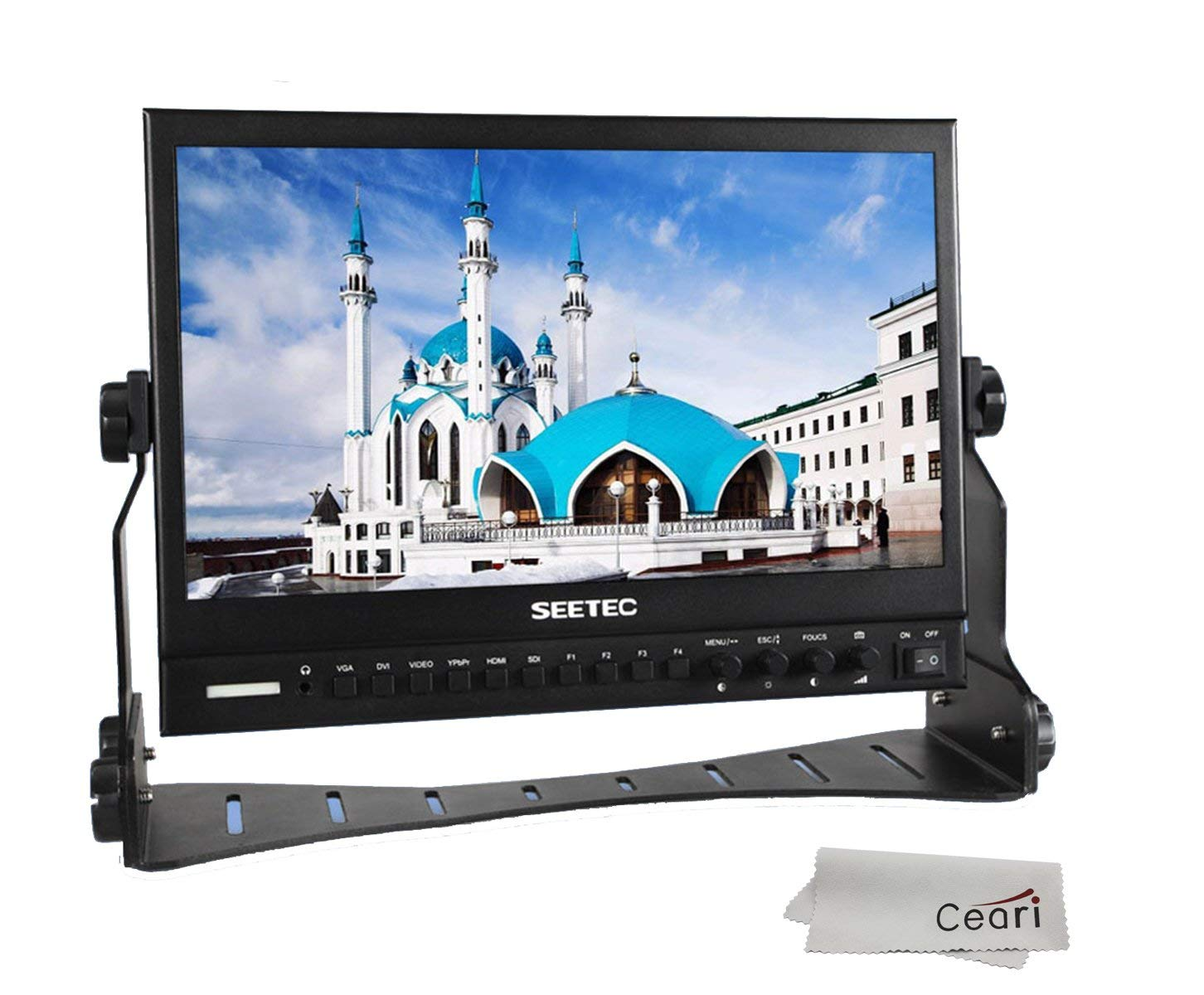 SEETEC P133-9HSD 13.3'' IPS 1920x1080 Aluminum Pro Broadcast LCD Monitor with Peaking Focus Assist Check Field 3G-SDI HDMI AV YPbPr DVI-I Video Audio Inputs with MicroFiber Cloth by SEETEC