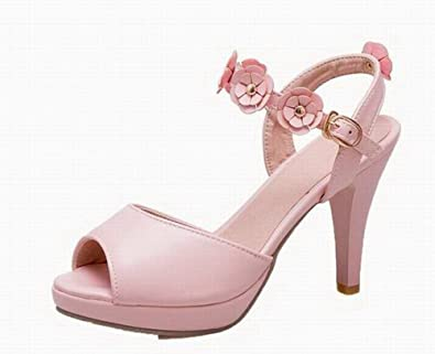 927918b8cf276 WeiPoot Women s High-Heels Solid Buckle Pu Open-Toe Sandals