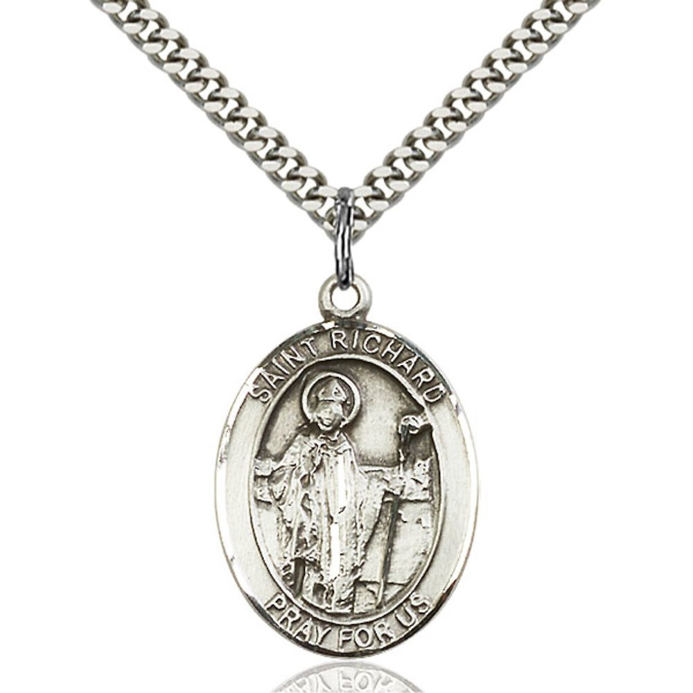Richard Hand-Crafted Oval Medal Pendant in Sterling Silver Bonyak Jewelry St