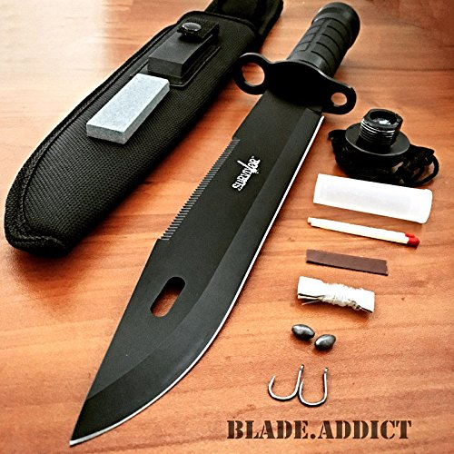 """NEW! 15"""" Tactical Hunting Rambo Fixed Blade Knife Machete Bowie w/ Survival Kit"""