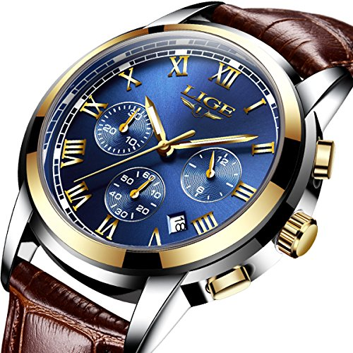 Men Leather Strap Military Watches Mens Chronograph Waterproof Sport Wrist Date Quartz Wristwatch Gifts blue