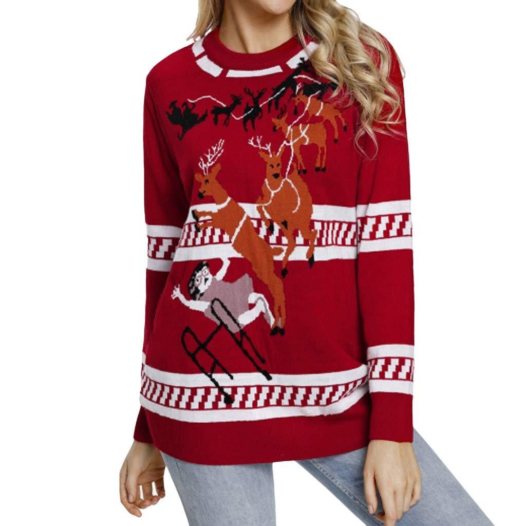 Lavany Christmas Womens Tunic Tops Printed Stripe Sleeve Basic Casual Blouse Shirts