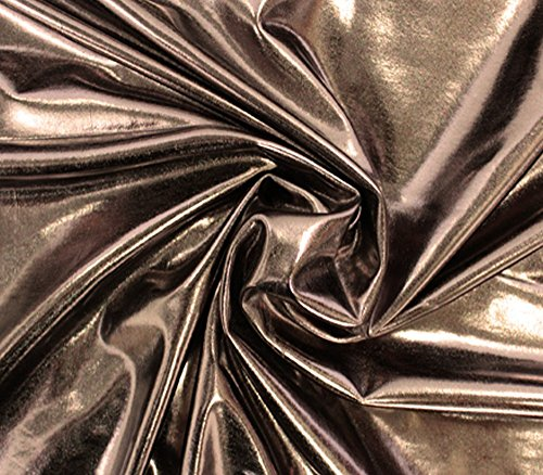 [Spandex Solid Metallic Fabric Sold By The Yard (15 Colors Available) (Dark Bronze)] (Aerobics Costume Designs)