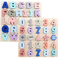 GEMEM Wooden Puzzles for Toddlers, Large Alphabet ABC Upper Case Letter and Number Wood Montessori Learning Board…