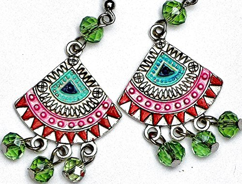 [Funky Painted Boho Chic Chandelier Earrings with Dangling Glass Crystal Beads] (Tribal Costumes Of India)