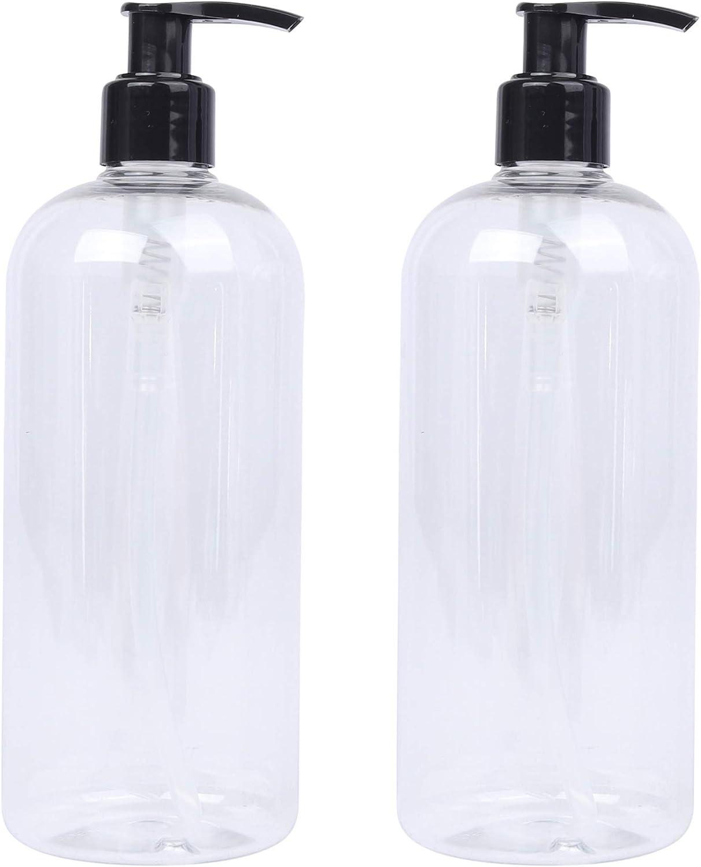 Lucemill - 2 botellas de plástico transparentes con dispensadores de loción de color negro y capacidad de 500 ml, reciclables