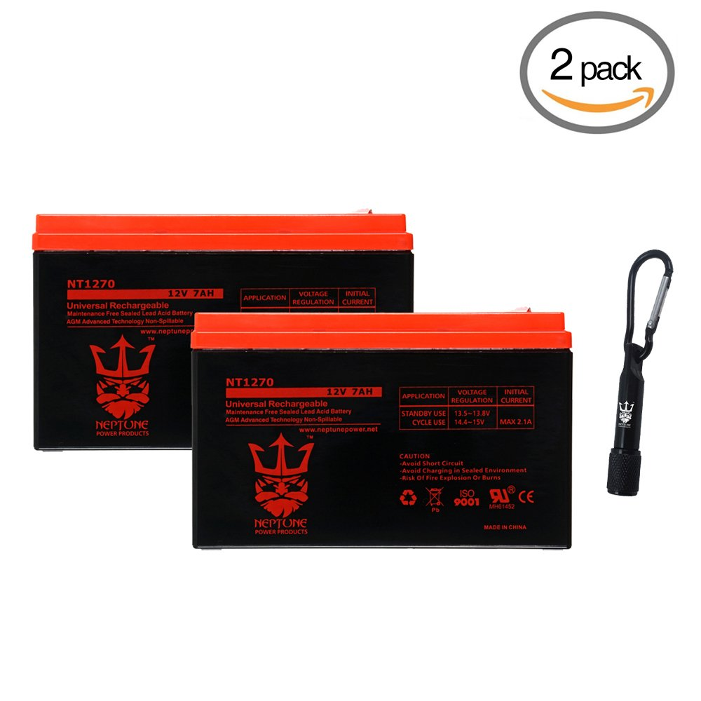 Neptune 12v 7ah Nt 1270 Rechargeable Sla Sealed Lead Sealedleadacid Battery Charger Circuits Acid Complimentary Led Flashlight 2 Pack Automotive