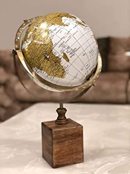 Cosmic Globe Exports-Educational Political Laminated with chrome finished unique swivel arc and wooden base WORLD GLOBE (8 inch) ;globe for kids ;globes for student ;globes for teachers ;desk globe ;globe for office table; globe for office ;home decor ;office decor