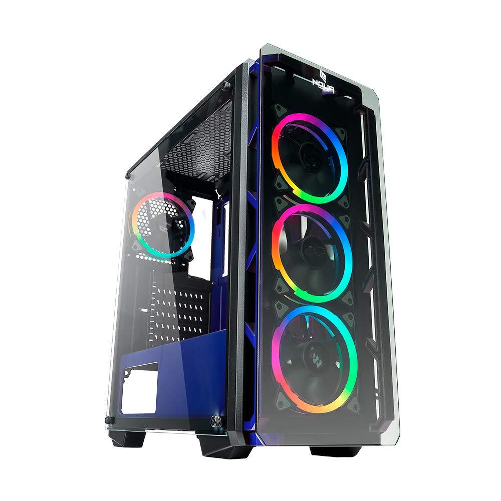 AxPxL: 480x400x200 mm Noua Cool G1 Nero Case ATX per PC Gaming Frontale Metal Mesh 0.60MM SPCC 3*USB3.0//2.0 Pannello Laterale in Vetro Temperato