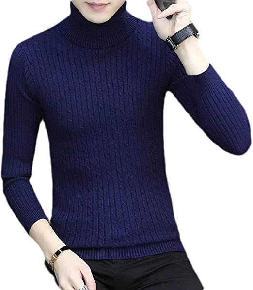 Joe Wenko Mens Pullover Turtle Neck Knit Pure Color Jumper Winter Warm Sweater
