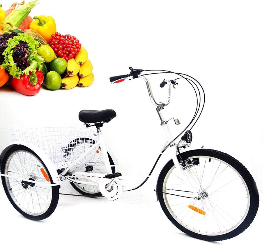 YIYIBY Triciclo 6 Velocidad 3 Ruedas Bicicleta Trike Bicicleta Ciclismo Pedal con Cesta de Compras para Adultos Deportes al Aire Libre 24 '' Blanco